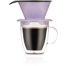 Bodum POUR OVER Einzelportionen Filter-Kaffeebereiter mit doppelwandigem Becher, 0,35l verbena