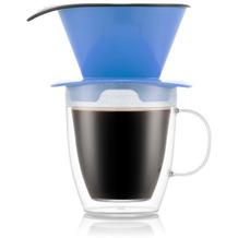 Bodum POUR OVER Kaffee-Tropfer und doppelwandige Tasse, 0,3 l, blau
