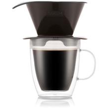 Bodum POUR OVER Kaffee-Tropfer und doppelwandige Tasse, 0,3 l, schwarz
