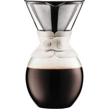 Bodum POUR OVER Kaffeebereiter mit goldfarbigem Filter, kurze Tülle, 1.5 l, 51 oz cremefarben