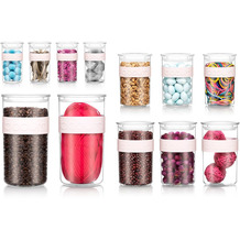 Bodum PRESSO 12er Set Vorratsgläser: PC 4x 0.25 l, 3x 0.6 l, 3x 1.0 l, 2x 2.0 l mit Silikonband strawberry