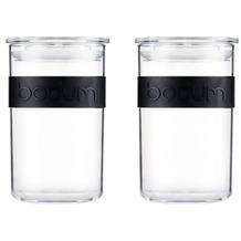 Bodum PRESSO 2er Set Vorratsgläser 0.6 l aus PC mit Silikonband schwarz