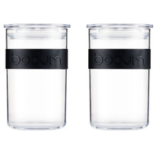 Bodum PRESSO 2er Set Vorratsgläser 0.6 l mit Silikonband schwarz