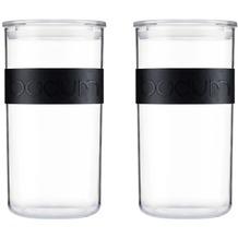 Bodum PRESSO 2er Set Vorratsgläser 2.0 l aus PC mit Silikonband schwarz