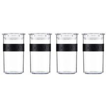 Bodum PRESSO 4er Set Vorratsgläser 0.25 l mit Silikonband schwarz