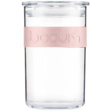 Bodum PRESSO Vorratsglas, 0.6 l aus Kunstoff mit Silikonband strawberry