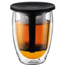 Bodum TEA FOR ONE Teeglas mit Kunststofffilter 0,35 l schwarz