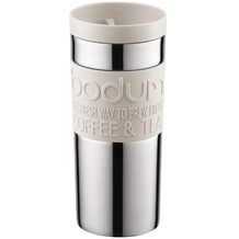 Bodum TRAVEL MUG Travel Mug, Doppelwandig, Edelstahl, 0.35 l cremefarben