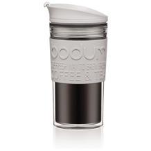 Bodum TRAVEL MUG Travel Mug, Doppelwandig, Kunststoff, 0.35 l grau mittel