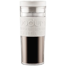 Bodum TRAVEL MUG Travel Mug, Doppelwandig, Kunststoff, 0.45 l cremefarben, flacher Deckel