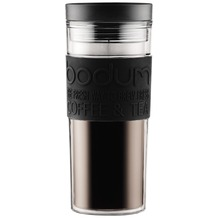Bodum TRAVEL MUG Travel Mug, Doppelwandig, Kunststoff, 0.45 l schwarz, flacher Deckel