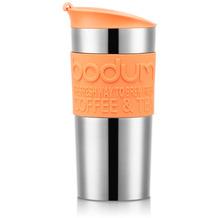 Bodum TRAVEL MUG Vakuum-Reisetasse, klein, 0,35 Liter, rostfreier Stahl, silber/orange