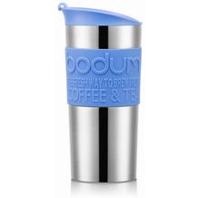 Bodum TRAVEL MUG Vakuum-Reisetasse, klein, 0,35 Liter, rostfreier Stahl, silber/blau