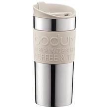 Bodum TRAVEL MUG Vakuum-Reisetasse, klein, 0,35 Liter, rostfreier Stahl, silber/cremefarben