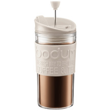 Bodum TRAVEL PRESS Kaffeebereiter, Doppelwandig, Kunststoff, 0.35 l cremefarben