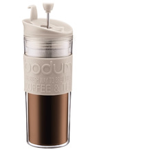 Bodum TRAVEL PRESS Kaffeebereiter, Doppelwandig, Kunststoff, 0.45 l cremefarben