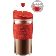 Bodum TRAVEL PRESS SET Kaffeebereiter mit extra Trinkaufsatz 0,35 l rot