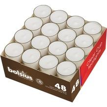 Bolsius Teelichte 8h in transparentem PC Cup 24/39 mm bx48, weiß