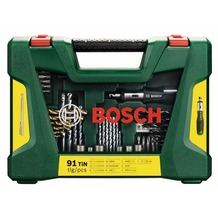 Bosch V-Line TiN-Bohrer- und Bit-Set, 91-teilig, Ratschen-Schraubendreher, Magnetstab