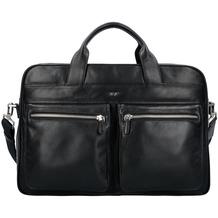 Braun Büffel Golf Aktentasche Leder 40 cm Laptopfach schwarz