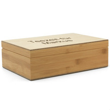 Bredemeijer Bambus-Teebeutelbox MIT GRAVUR (z.B. Namen) mit 6 Teedosen