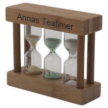 Bredemeijer heller Bambus-Teatimer 3in1 MIT GRAVUR (z.B. Namen), farbige Sanduhr 2, 3 & 5 min.