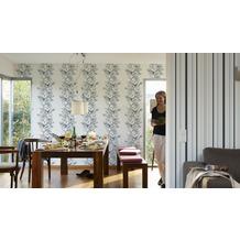 Brigitte Home Streifentapete mit Glitter, Vliestapete, blau, metallic, weiss 10,05 m x 0,53 m