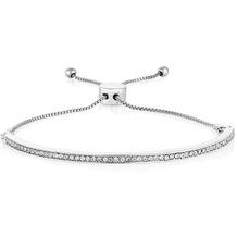 Buckley London Armband Messing rhodiniert mit Kristallen Größe S/M Silbergrau 20783