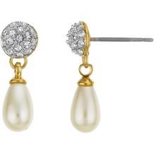 Buckley London Ohrstecker Messing vergoldet imitierte Perle Kristall gelb 22109