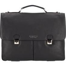 Bugatti Valencia Aktentasche XL Leder 3-Hauptfächer 43 cm Laptopfach schwarz