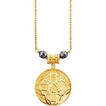 Cai Anhänger mit Kette 925/- Sterling Silber vergoldet Hämatit gelb 20595