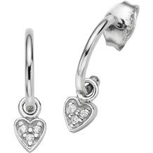 Cai Creolen 925/- Sterling Silber rhodiniert Herz mit Zirkonia weiß 20819
