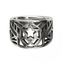 Cai Ring 925/- Sterling Silber oxidiert Stern Europa Silbergrau 22037 58 (18,5)