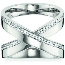 Cai Ring 925/- Sterling Silber rhodiniert Topas weiß 20749 50 (15,9)