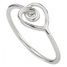 Cai Ring 925/- Sterling Silber rhodiniert Zirkonia weiß 21691 48 (15,3)