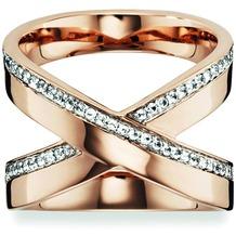 Cai Ring 925/- Sterling Silber rotvergoldet Topas weiß  20747 50 (15,9)