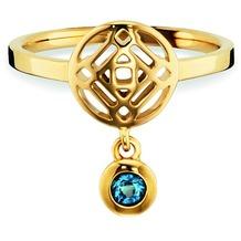 Cai Ring 925/- Sterling Silber vergoldet Topas gelb 20737 50 (15,9)
