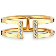 Cai Ring 925/- Sterling Silber vergoldet Topas gelb 20767 50 (15,9)