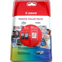 Canon Tintenpatronen Value-Pack PG540XL/CL-541XL schwarz/color - inkl. 50 Blatt Fotopapier 10x15cm