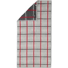 cawö Handtuch platin 50 x 100 cm, rot/graues Netzmuster