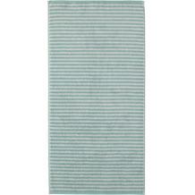 cawö Handtuch seegrün 50 x 100 cm, graue Querstreifen