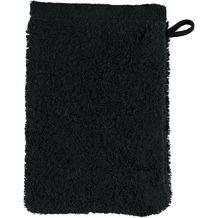 cawö Noblesse Uni Waschhandschuh schwarz 16x22 cm