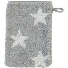 cawö Stars Small Waschhandschuh silber 16x22 cm