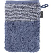 cawö Waschhandschuh nachtblau 16 x 22 cm, halb quergestreift