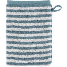 cawö Waschhandschuh petrol 16 x 22 cm, graue Querstreifen
