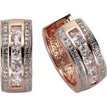 Celesta Silber Klappcreolen 925/- Sterling Silber rosévergoldet Zirkonia rot 4043
