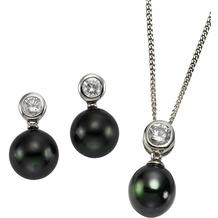 Celesta Silber 3tlg. Set 925/- Sterling Silber Perlen weiß 4303