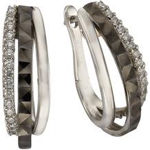 Celesta Silber Creolen 925/- Sterling Silber bicolor Zirkonia weiß/schwarz 4095
