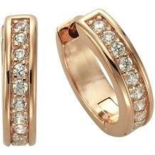 Celesta Silber Creolen 925/- Sterling Silber rosévergoldet Zirkonia rot 3781