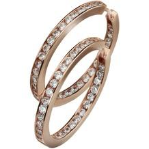 Celesta Silber Klappcreolen 925/- Sterling Silber rosévergoldet Zirkonia rot 3783